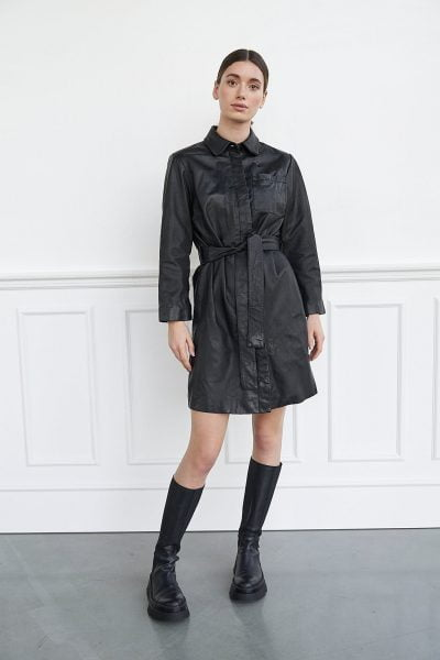 WBLGABI LEATHER 3/4 SLV DRESS
