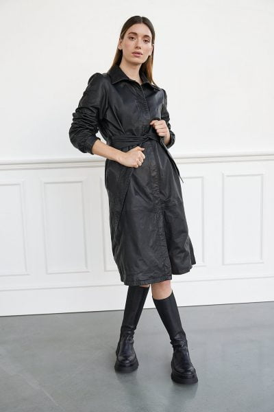 WBLLEONA LEATHER LS DRESS