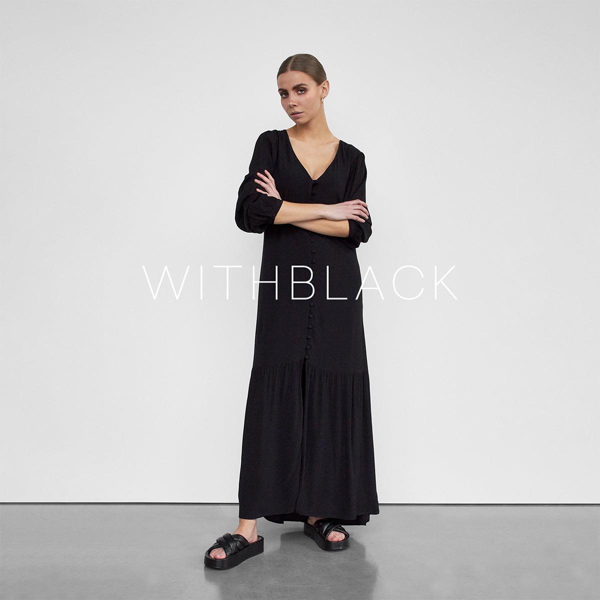 Model in silk dress