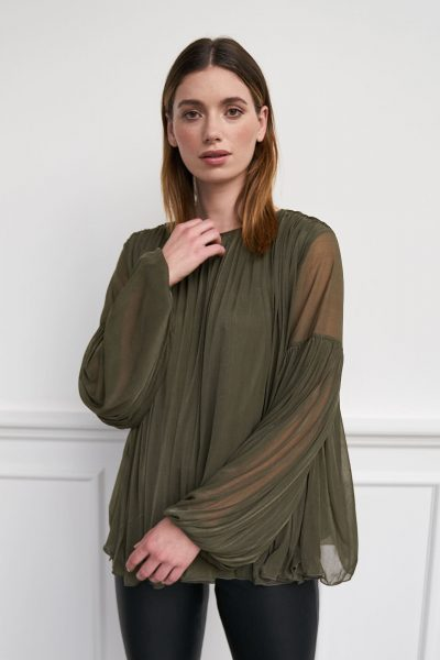 WBLCANNES PLEAT LS TOP