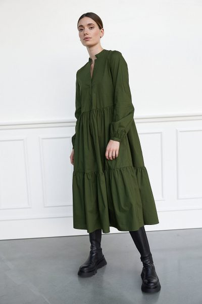 WBLBRANDY POPLIN LS LONG DRESS