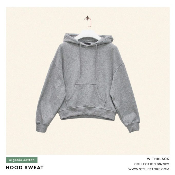 Grå hoodie, kvinnor
