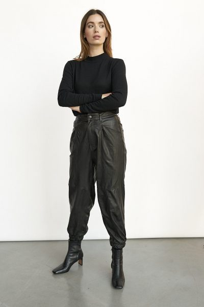 WBLSILVIA LEATHER WIDE PANTS