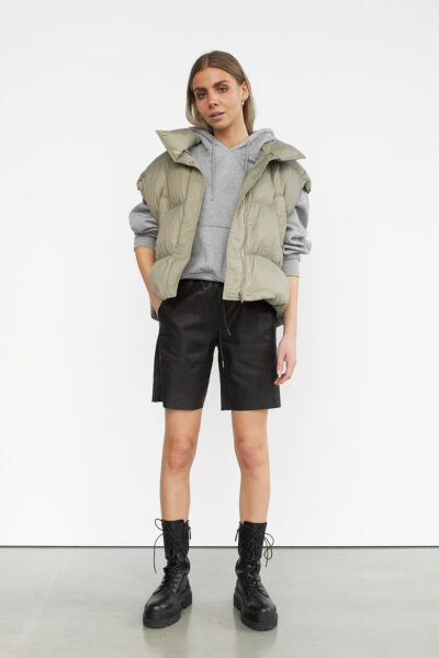 WBLSUE LEATHER TRACK SHORTS