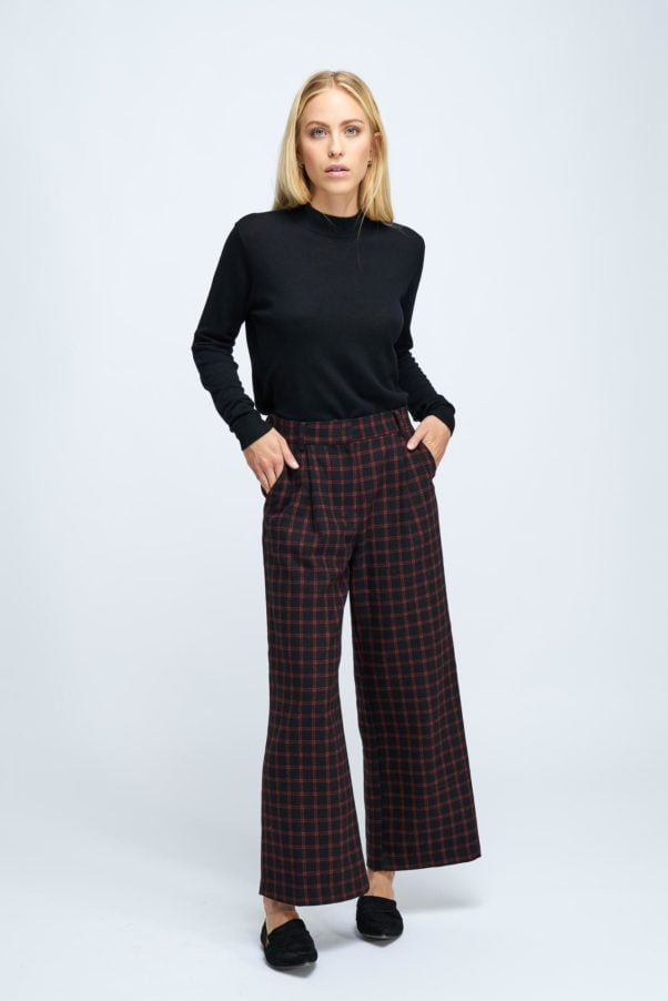WBLFOX GRID CHECK WIDE PANT