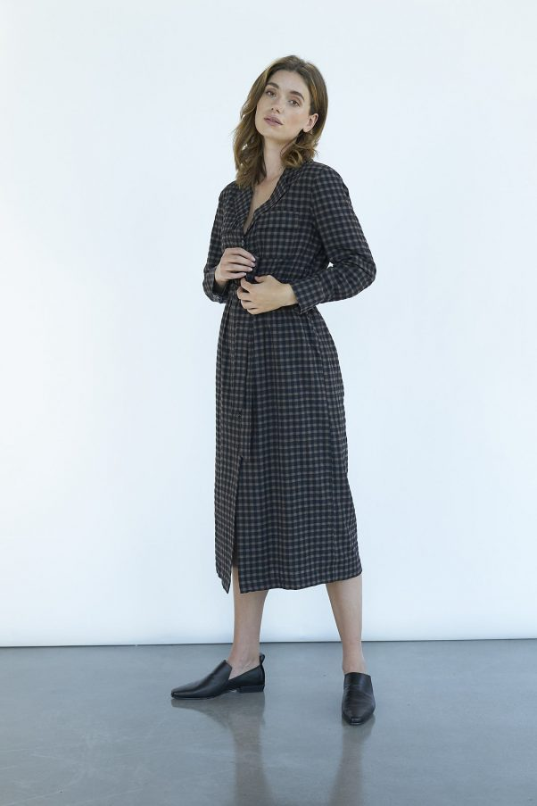 WBLGRAPE LS CHECK SHIRT DRESS