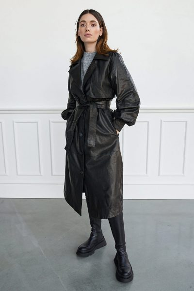 WBLBRONX LEATHER TRENCHCOAT