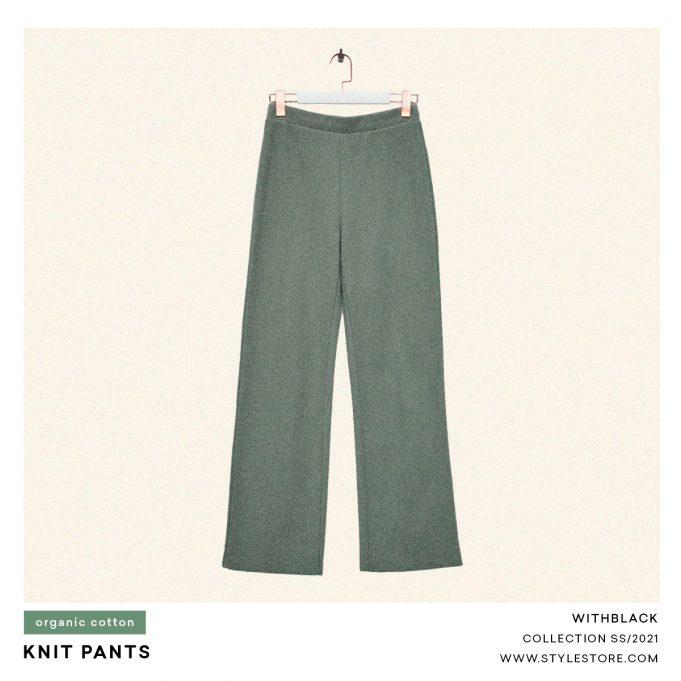 Green knit pants, women
