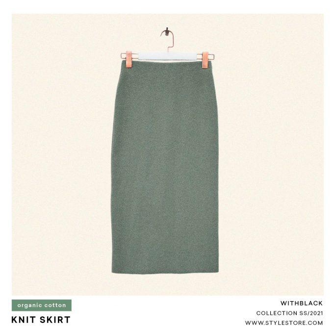 Green knit pencil skirt
