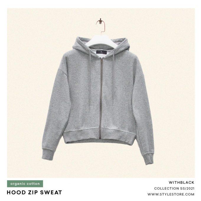 Grey Hoodie With Zipper, women